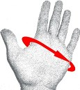 Hand with arrow where to measure for glove size